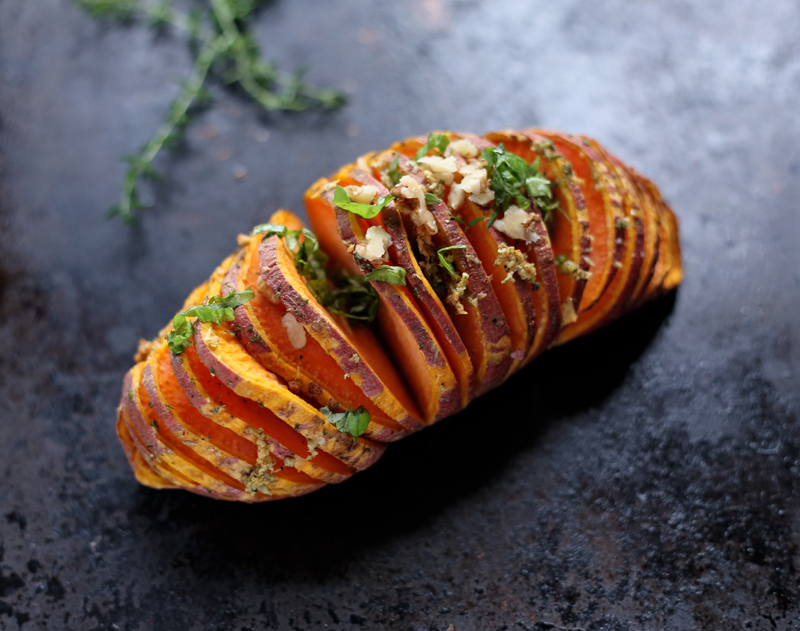Hasselback Sweet Potatoes • Green Evi