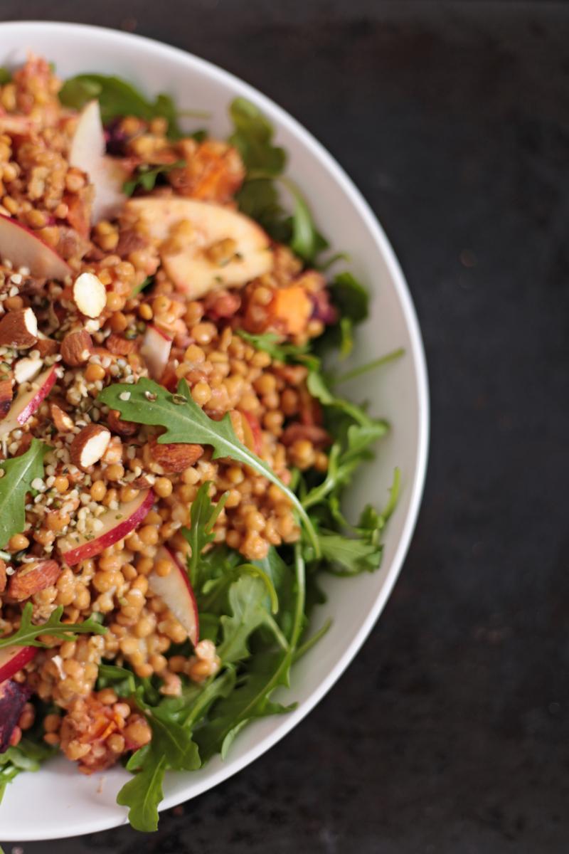 Warm Lentil Salad with Roasted Vegetables - Green Évi