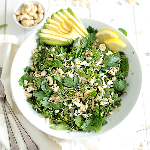 Green Herb Salad with Avocado • Green Evi